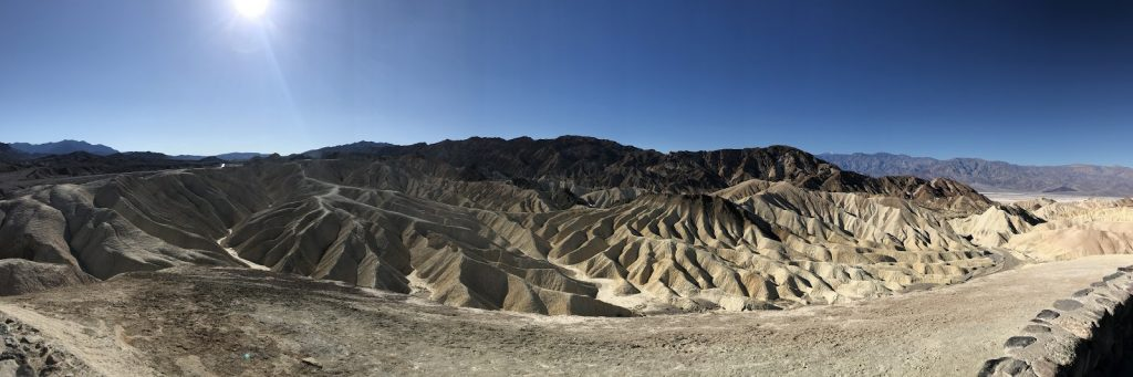 Death Valley National Park, wonderful rock formations and otherworldly scenery seen from an outlook at Artists Drive. Drive down the scenic drives in Death Valley on our Nevada road trip.