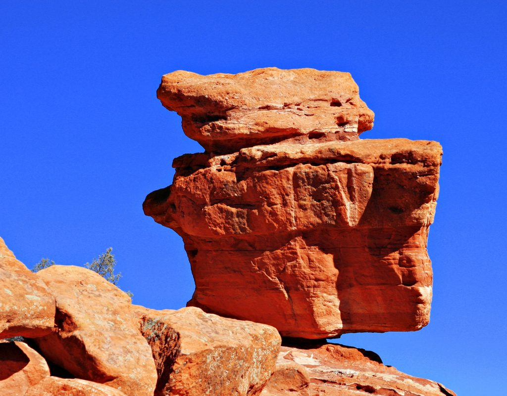 Balanced Rock is a popular tourist attraction in Garden of the Gods park in Colorado Springs near Denver.
