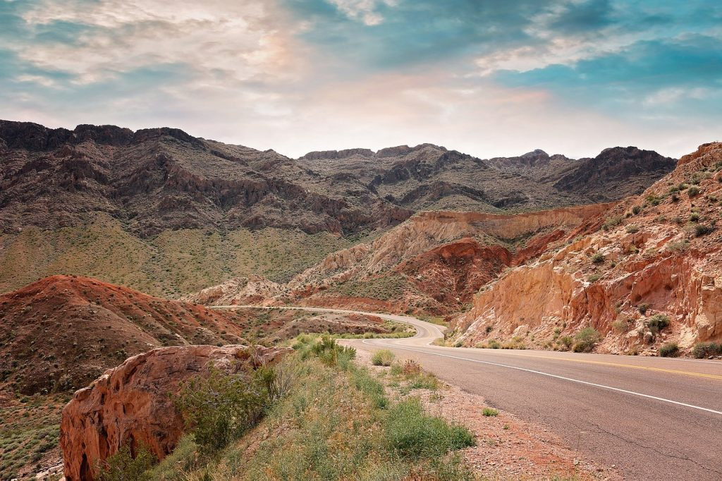 scenic driving road next to lake mead recreational area, on the outskirts of Las Vegas Nevada.