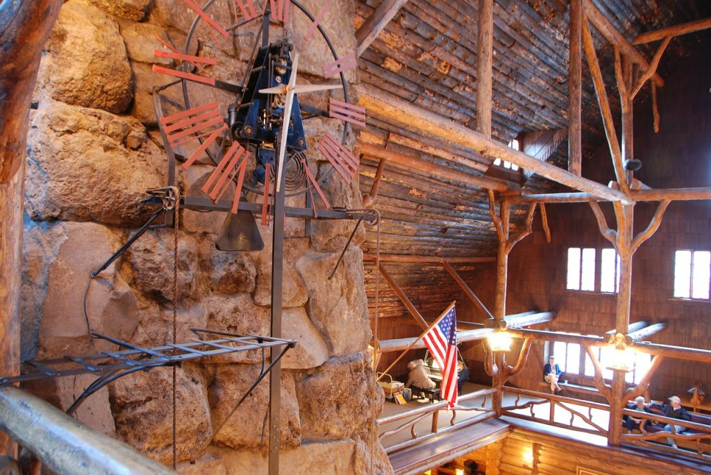 Wooden interior of the Old Faithful Inn. The beautiful lodge is expensive and has rooms that offer a view of old faithful geyser, here in yellowstone national park in wyoming