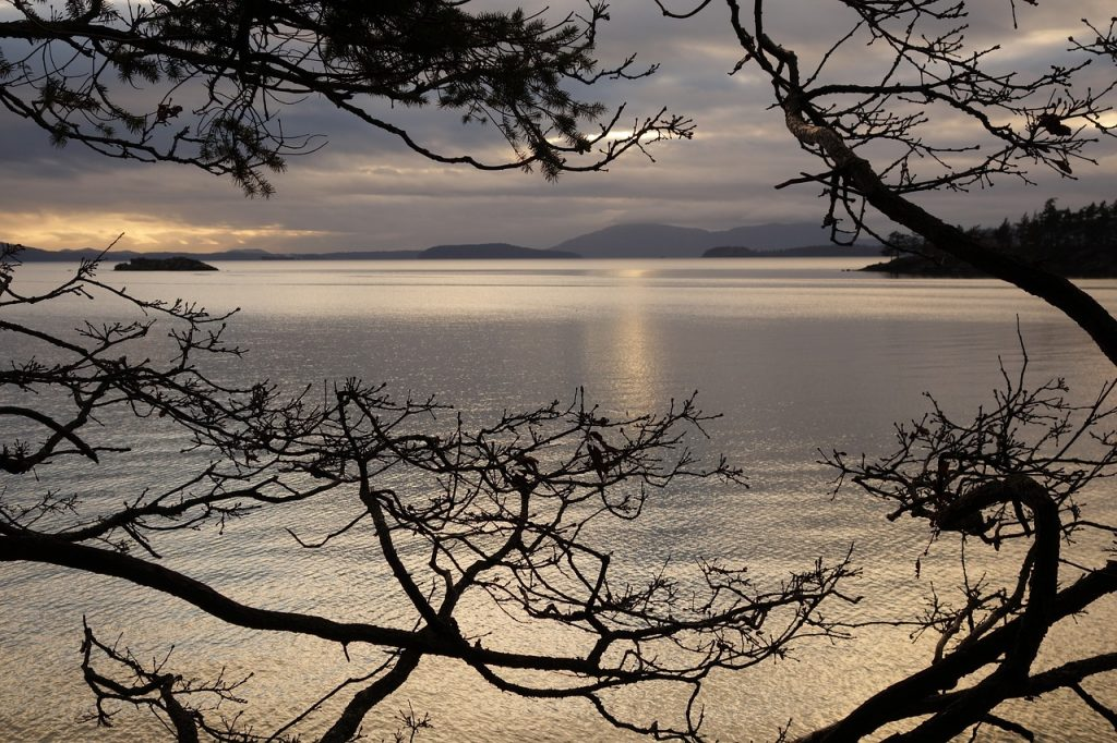 View of the Pacific Ocean seen from Chuckanut in the northern part of Washington State. Chuckanut is famous for its scenic coastal drive