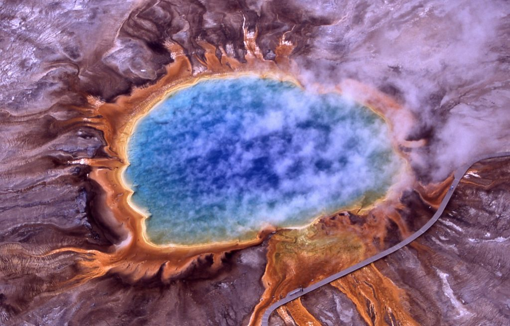 Grand Prismatic Thermal Spring in Yellowstone National Park. The geothermal activity can be seen during our itinerary for Yellowstone & Grand Teton.