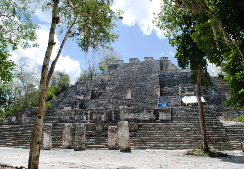calakmul archeological site, beautiful mayan ruins are hidden deep inside the jungle. Exploring them is a must on any Mexico road trip itinerary in the yucatan peninsula.