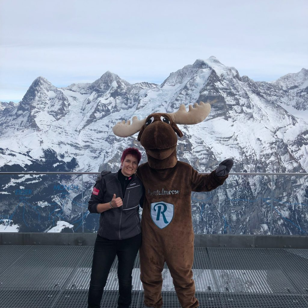 Rental Moose Mascot posing in front of swiss alps panoramic view with local employee. Photo at the summit, winter in Switzerland.