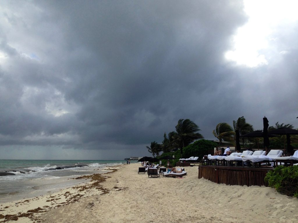 Stormy day, lots of clouds above playa del carmen near cancun in mexico. Cancun to Tulum by car, playa del carmen is one of the best places to see in yucatan peninsula.