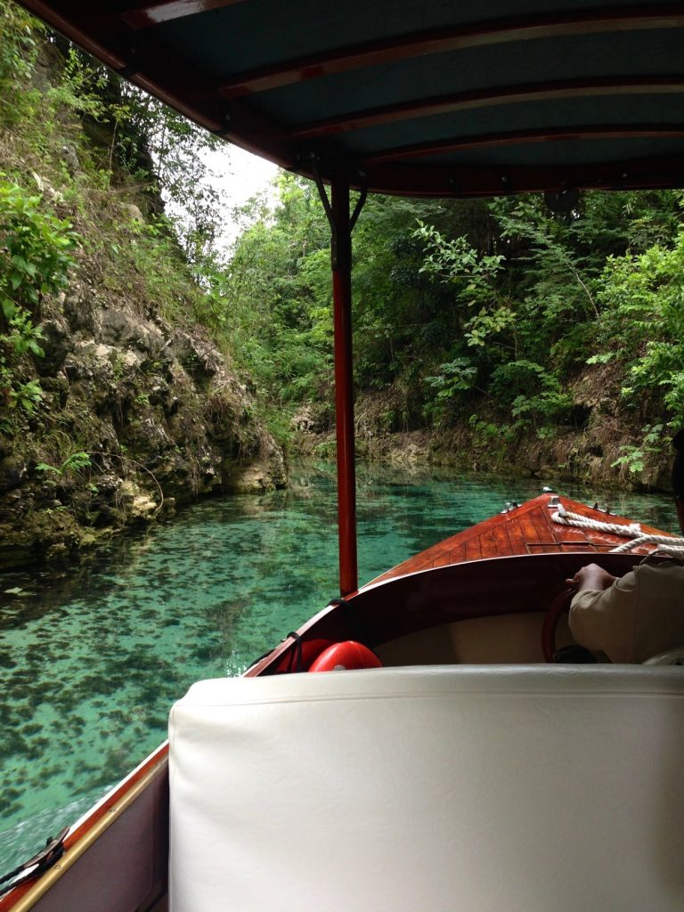 Taking a boat tour through a river in the jungle, Mexico wilderness near Tulum. Stunning scenery on a cloudy day in the yucatan peninsula.