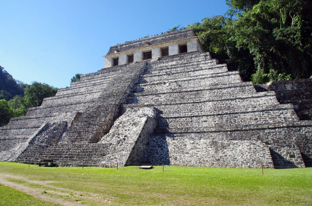 palenque archeological site. Large mayan pyramid is a must see in this part of mexico.