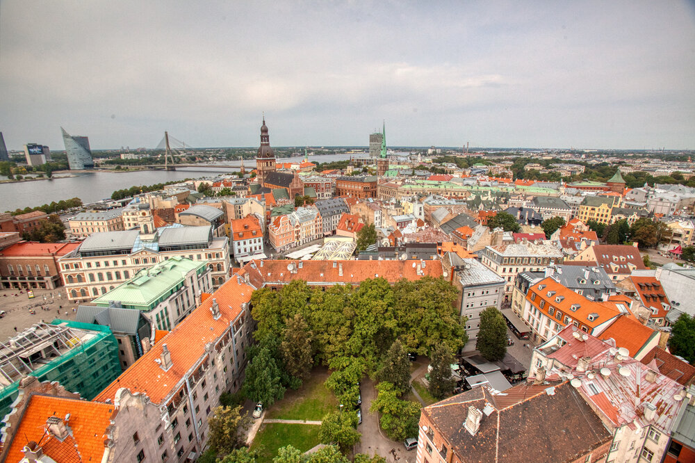 Medieval buildings in the heart of the old town of Riga, Latvia. Panoramic view of riga's old town from above on a sunny day in the Baltics.