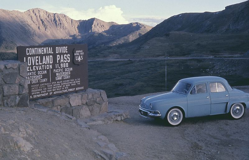 Loveland Pass historic photo from the 1960s. Loveland Pass in Colorado is a part of the US Route 6, one of the longest road in the world. It connects Long Beach in California with Princetown in Massachusetts.