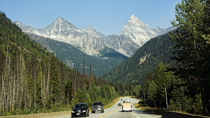 Trans Canada Highway, one of the longest roads in the world, connects two ends of Canada. Spectacular scenic drive through Glacier National Park.