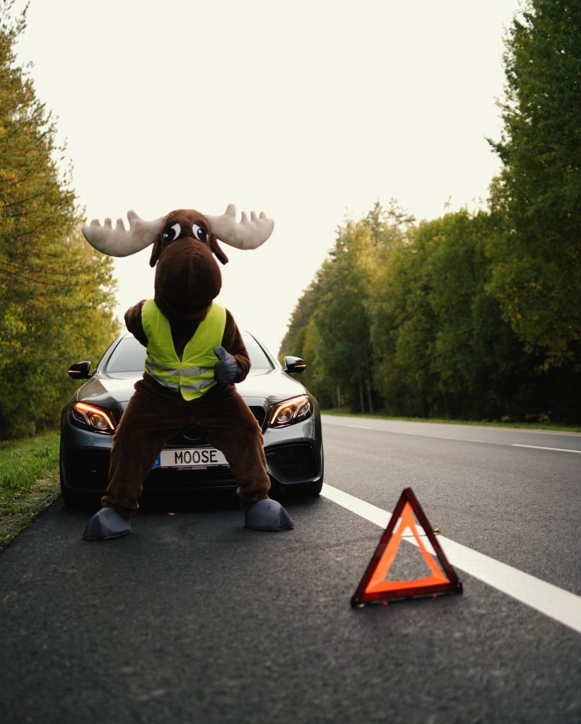 rental moose mascot posing next to broken down mercedes. Dont forget to purchase roadside assistance when booking rental cars for a road trip.