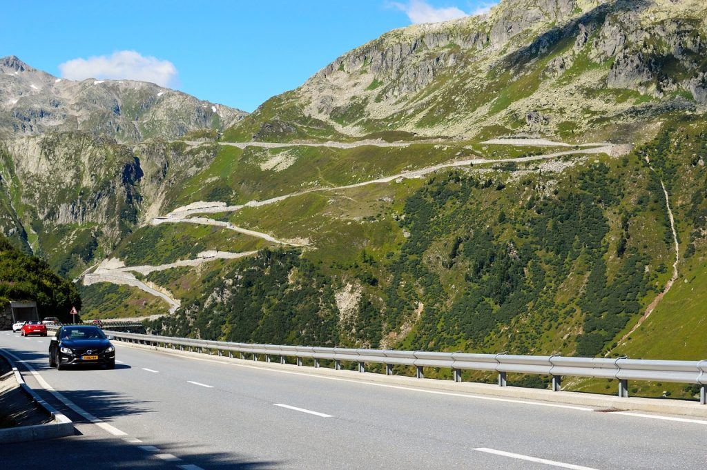 Furka Pass mountain pass seen from a nearby highway. Furka in Switzerland is one of the best mountain passes in the Alps.