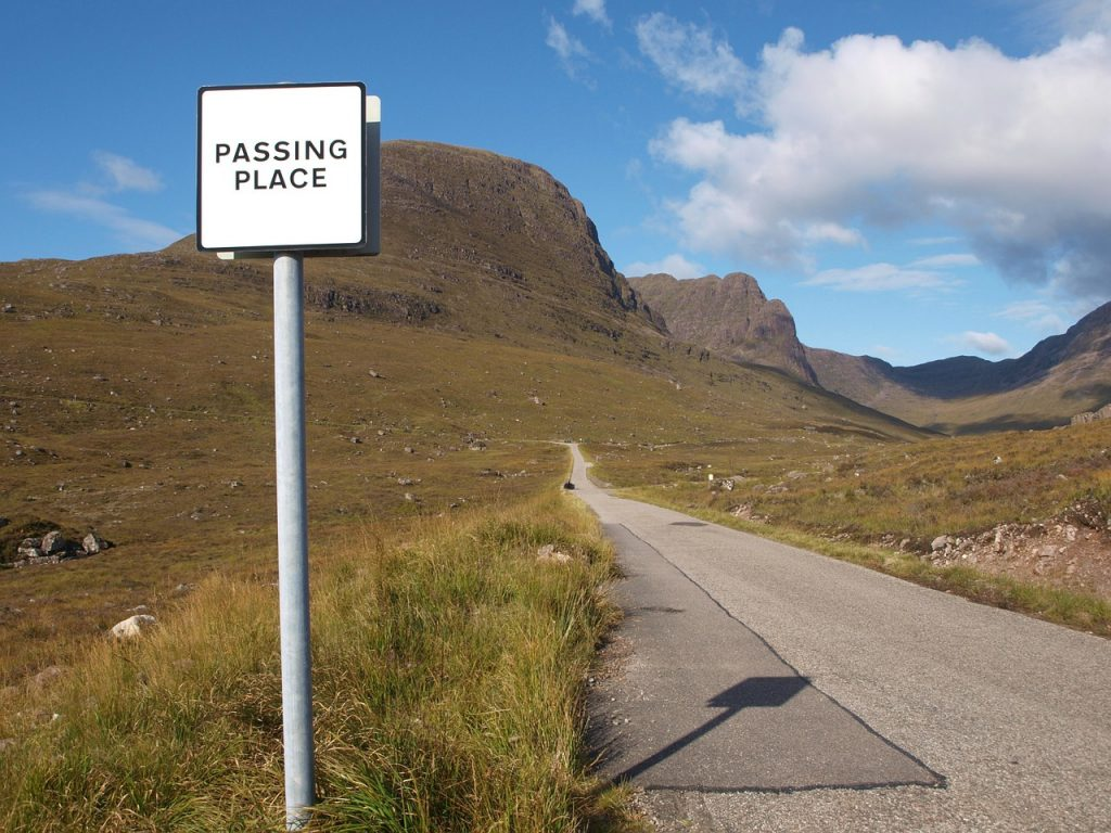 the NC500 is a famous driving road in Scotland. The 500-mile route loops around the Scottish Highlands.