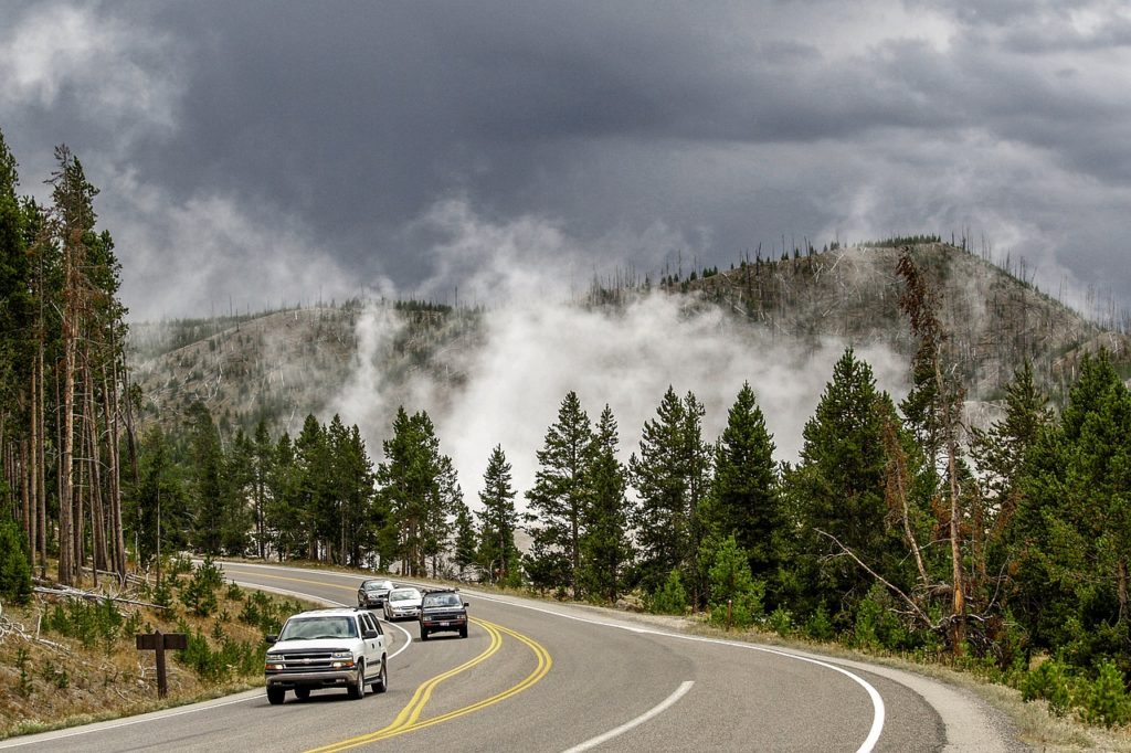 apart from being one of the longest road in the world, US Route 20 is the main driving road through Yellowstone National Park in Wyoming.
