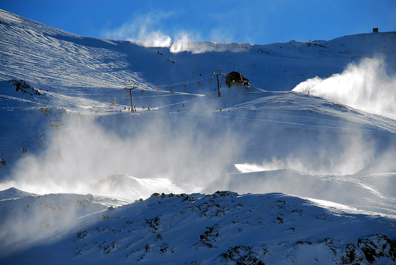 Mount Hutt ski field seen on a sunny day. Mount Hutt is one of the top spots to go skiing in New Zealand.