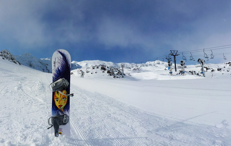 Snowboarding in empty Whakapapa, the largest ski resort in all of New Zealand.