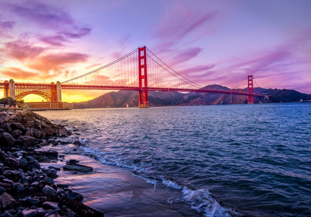 golden gate seen during a colorful sunset