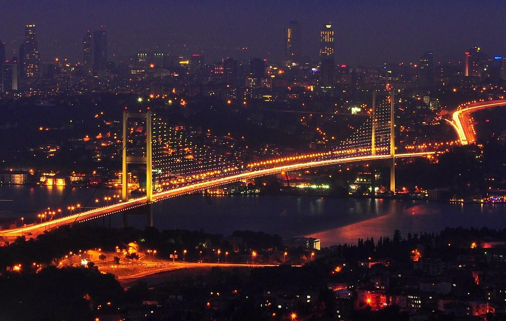 Istanbul's bosphorus bridge, a famous bridge in Turkey, seen at night time