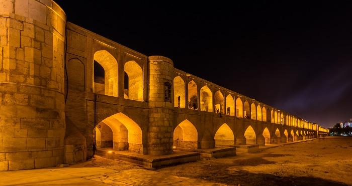 si o se pol a famous bridge in iran, seen at night