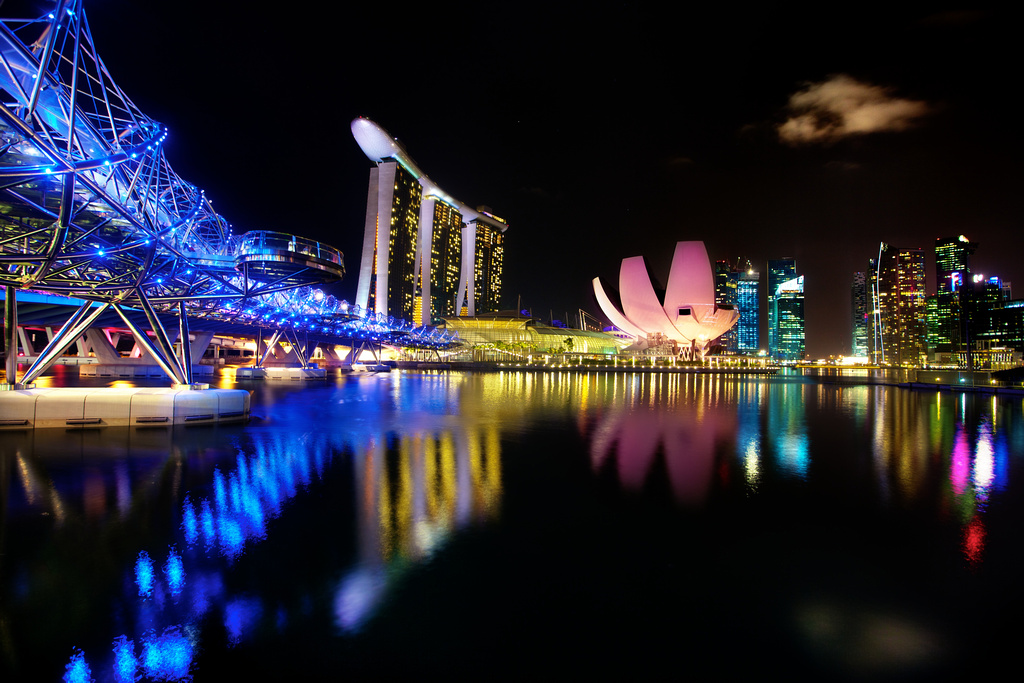 the famous DNA-shaped Helix Bridge. Famous bridge in Singapore at night