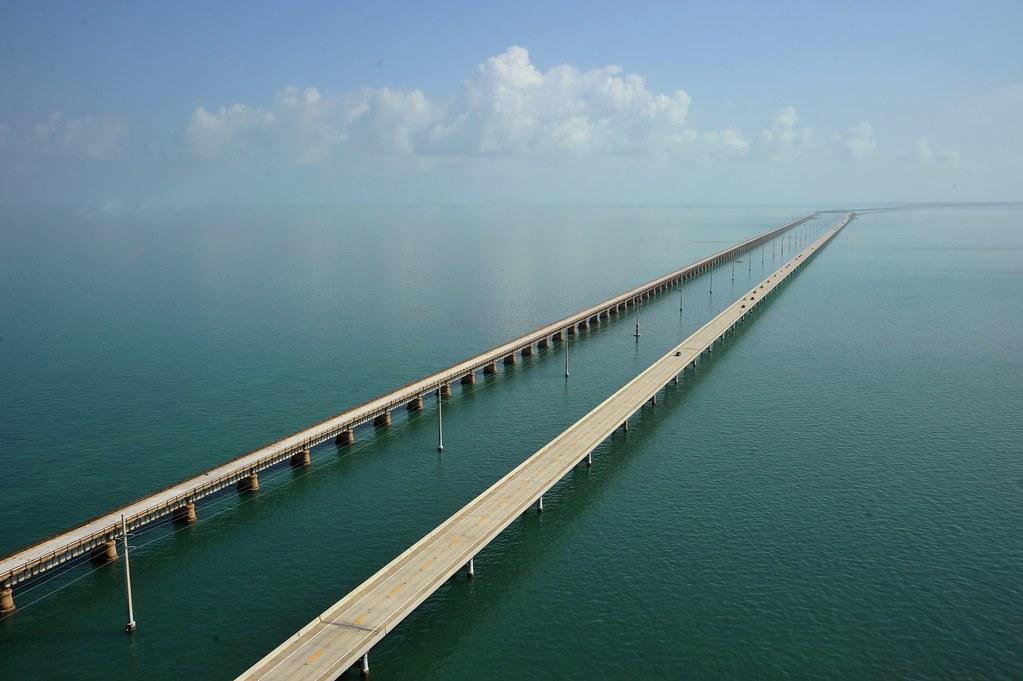 florida's seven mile bridge connects the Keys to Mainland Florida.