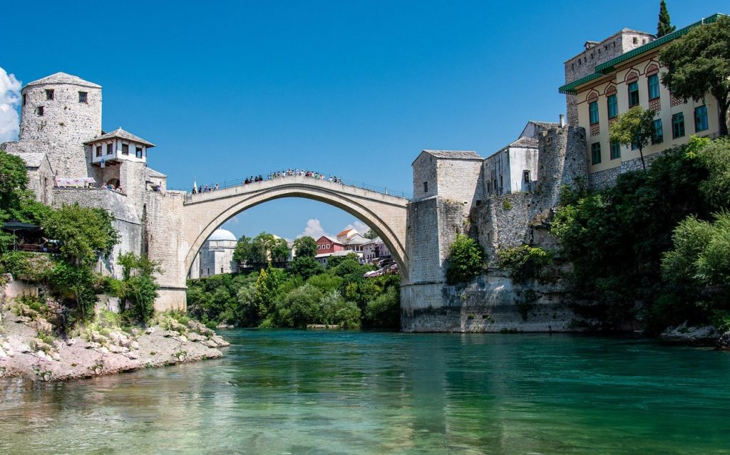 The reconstructed Stari Most, a famous bridge in Bosnia and Herzegovina