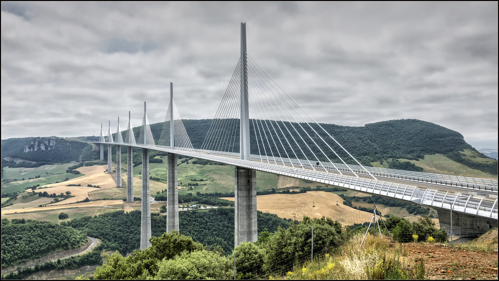 the monumental millau viaduct is one of the most famous bridges in the world