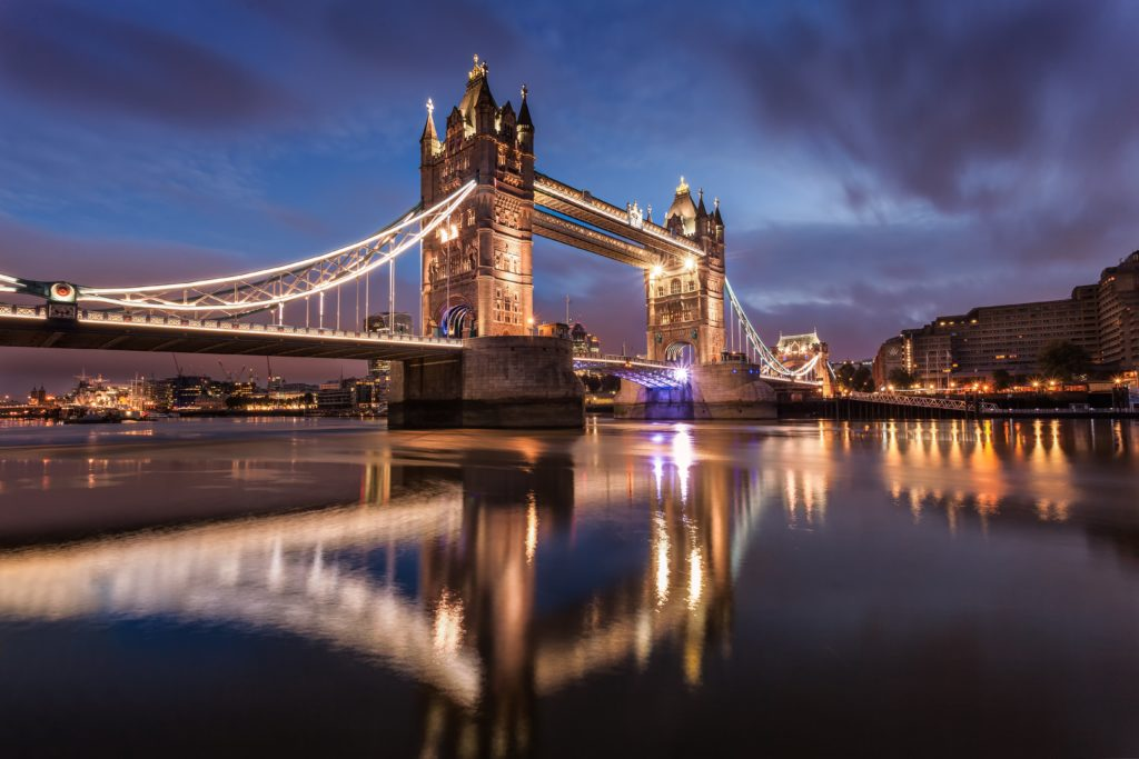 London's famous tower bridge at night time