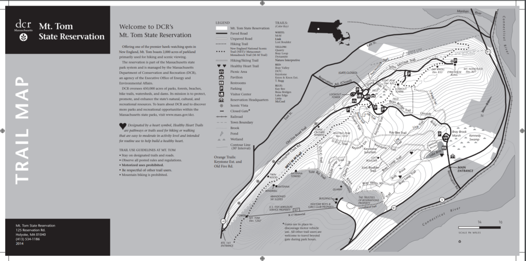 black and white map of hiking trails in Mont Tom State Reservation Area, Massachusetts.